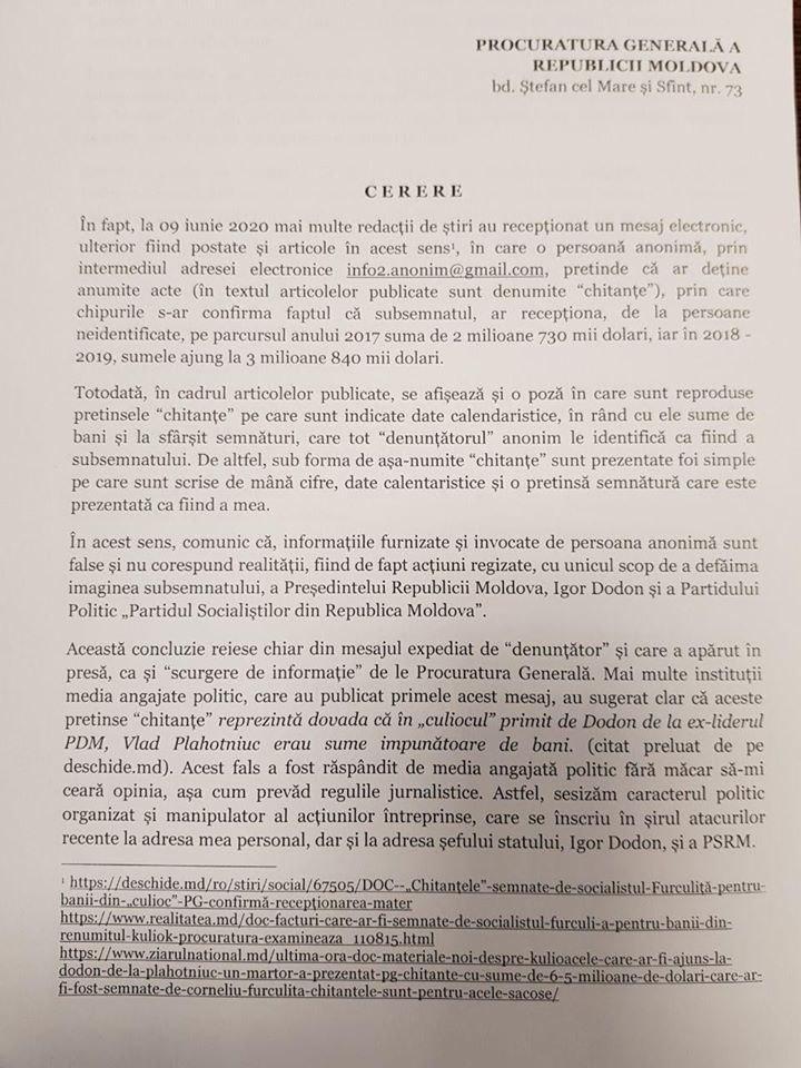 Furculiță a adresat o solicitare Procuraturii Generale să investigheze falsul răspândit în spațiul public